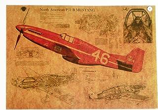 P51ムスタング 戦闘機 レトロ風ポスター B3サイズ MUSTANG WWⅡ 米空軍 空戦 零戦 ゼロ戦P-51 MI08