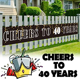 LINGPAR 9.8 x 1.6 ft Large Sign Birthday Or Wedding Anniversary Decor - Cheers to 40 Years Banner