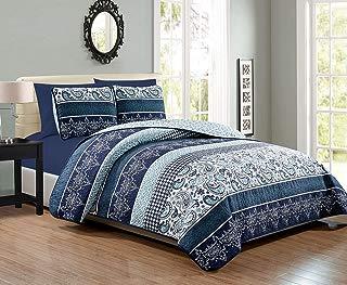 KingLinen 6 Piece Navy/White Paisley Reversible Bedspread/Quilt Set Queen