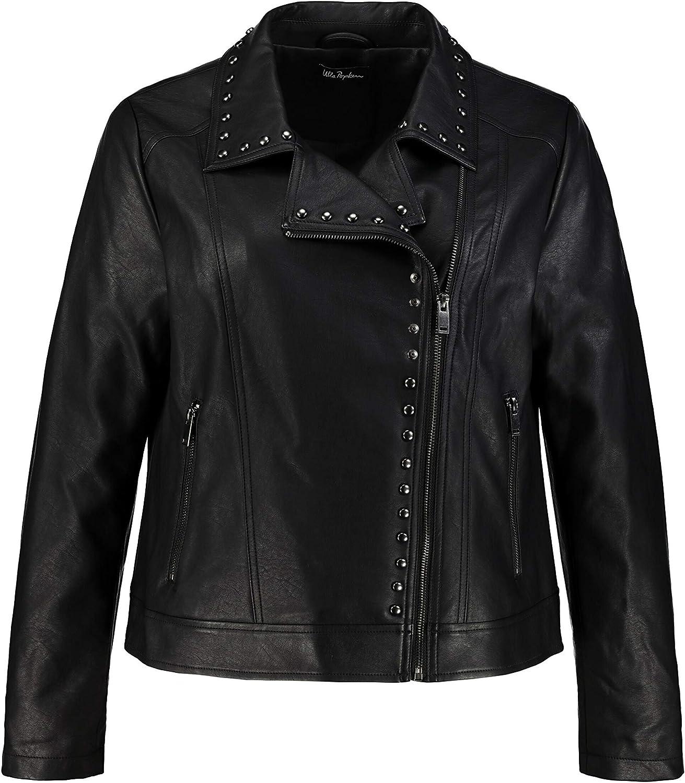 Ulla Popken Women's Plus Size Stud Accent Faux Leather Biker Jacket Black 14 748813 10