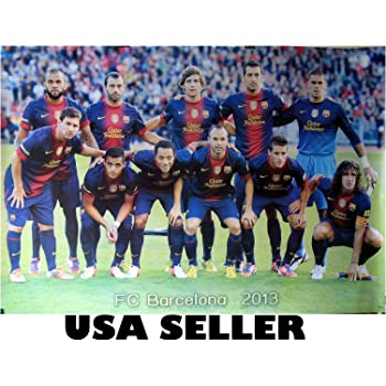 Amazon Com Barcelona Fcb 2013 Team Photo Poster 34 X 23 5 Lionel Messi Andres Iniesta Spanish Spain Soccer Football Barca Sent From Usa In Pvc Pipe Home Kitchen