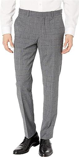 Slim Fit Stretch Wool Plaid Dress Pants