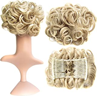 SWACC Short Messy Curly Dish Hair Bun Extension Easy Stretch hair Combs Clip in Ponytail Extension Scrunchie Chignon Tray ...