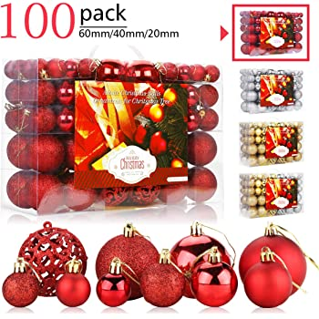 100x Rosso Christmas Gift Valigia 100 Pezzi Palline di Natale Rosse