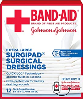 Band-Aid Surgipad Surgical Dressings Extra Large 5 in x 9 in - 12 each, Pack of 3