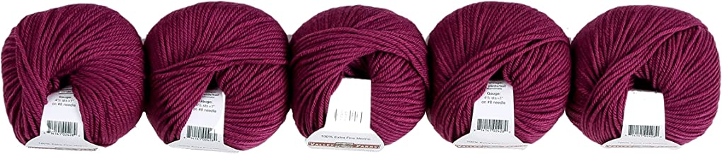Valley Yarns Valley Superwash 5-Pack (Washable, Worsted Weight Yarn, 100% Extra Fine Merino Wool) - #321 Mulberry