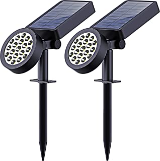 Solar Yard Lights Outdoor,19 LED Bulbs Solar Landscape Spotlights-Waterproof Outdoor Adjustable Wall Light Security Lighting Dark Sensing Auto On/Off for Patio Lawn Pool Yard Garage Garden, Pack of 2