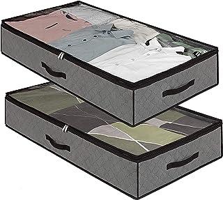 Bettw/äsche AidShunn Unterbettkommoden Unter-Bett-Aufbewahrung Organizer mit gro/ßer Kapazit/ät f/ür Bettdecken grau, 2 Packungen klares Fenster faltbar mit stabilem Rei/ßverschluss Decken