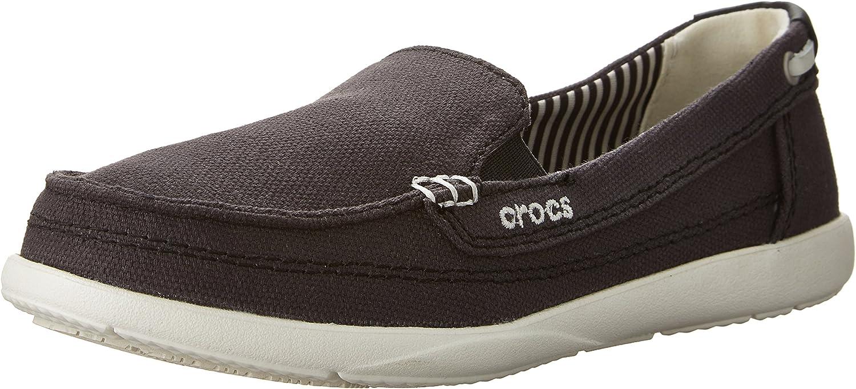 Crocs - - Frauen Walu Leinwand Loafer Damenschuhe, EUR  33.5, schwarz Oyster
