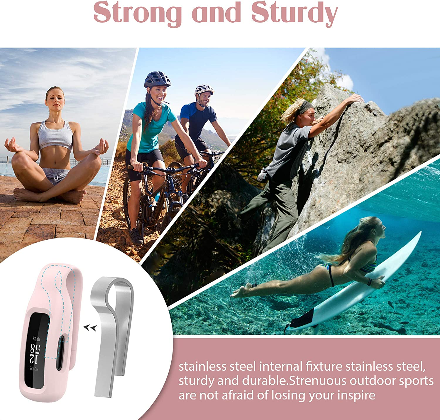 HSWAI 3-Pack Clips Replacement for Fitbit Inspire 2 Soft Comfortable Silicone Clip 360/°Protection Holder Accessory Compatible with Fibit Inspire 2