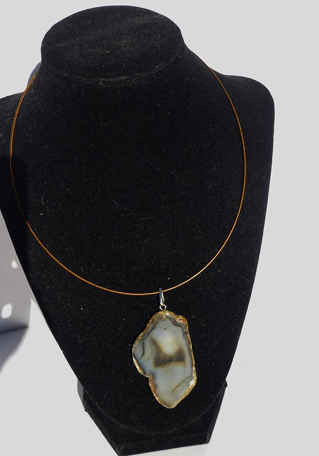 Agate Slice Pendant Wire A8 Necklace overseas Choker Max 61% OFF