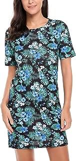 Zeagoo Women's Floral Printed Short Sleeve Summer Casual T-Shirt Mini Dresses