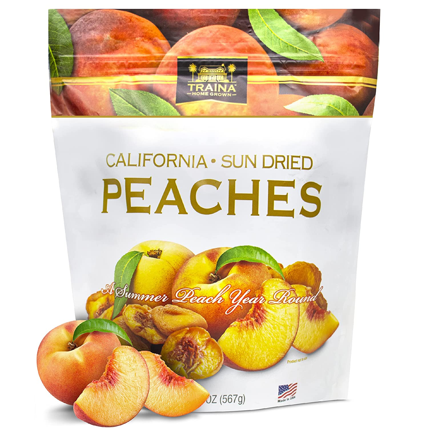 Traina Home Grown California Sun Dried Nectarines - Healthy & Non-GMO, Natural Sweet Flavor Fruit No Sugar Added, Perfect Snack In Resealable Pouch (22 Oz)