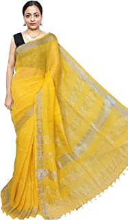 Red Saree Women's Linen Saree With UnBlouse Piece (Sanghamitra338_Yellow)