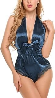 Women Lingerie Teddy Deep V Halter Teddy One Piece Bodysuit Satin Sleepwear Sleeveless Jumpsuit Rompers