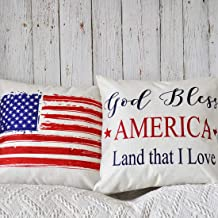 PANDICORN Set of 2 4th Fourth of July Patriotic Decorative Throw Pillow Covers, Farmhouse American Flag Throw Pillows Cases with Quotes God Bless America for Outdoor Porch, 18 x 18 Inch