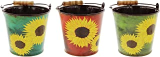 Lucky Winner Set of 3 Metal Bucket Planters with Sunflower Design in Teal, Red, Green 4.5