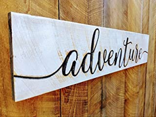 "Large ADVENTURE Sign 48""x10"" Carved Horizontal-Cypress Lumber Rustic Distressed Shabby Style Americana"