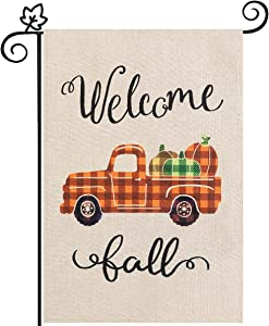 Welcome Fall Garden Flag, hogardeck Vertical Double Sided Buffalo Plaid Truck and Pumpkin Yard Flag, Thanksgiving Seasonal Holiday Decor, Outdoor Decorations 12.5 x 18 inch