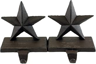 Party Explosions Cast Iron Rustic Stars Holiday Stocking Holders - Set of 2