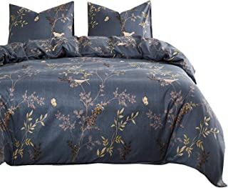 Wake In Cloud - Gray Comforter Set, Birds Floral Flowers Leaves Pattern Printed on Dark Grey, Soft Microfiber Bedding (3pcs, Queen Size)