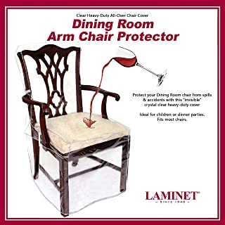 LAMINET Heavy-Duty Crystal-Clear Dining Chair with Arms Protectors - Protects Your Dining Room Chair All-Over from Dust, D...