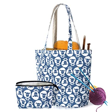 YARWO Knitting Bag with Small Zipper Pouch, Yarn Tote for Knitting Needles, Skeins of Yarn and Knitting Supplies On The Go, Sheep (Bag Only)