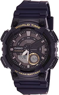 Casio Men's Black Dial Silicone Analog-Digital Watch - AEQ-110W-2AVDF