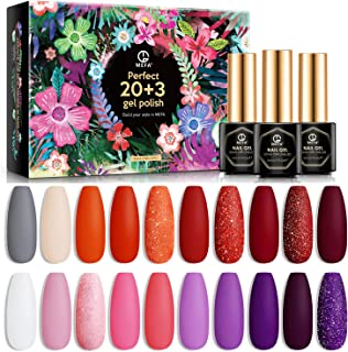 MEFA Gel Nail Polish Set 23 Pcs, Soak Off Nail Gel Red Pink Orange Purple Colors with No Wipe Glossy Top Coat Matte Top Co...