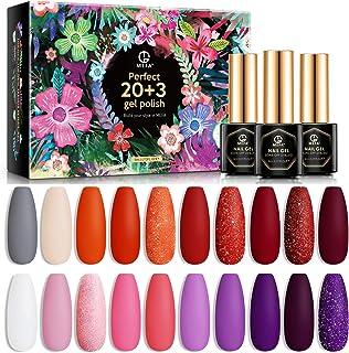 MEFA Gel Nail Polish Set 23 Pcs, Soak Off Nail Gel Red Pink Orange Purple Colors with No Wipe Glossy Top Coat Matte Top Co...