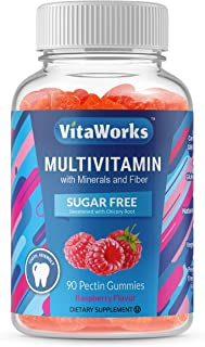 VitaWorks Sugar Free Multivitamin – with Minerals and Fiber – Great Tasting Raspberry Flavored Gummy – Keto Friendly – Glu...