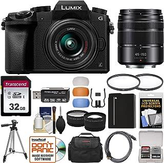 Panasonic Lumix DMC-G7 4K Wi-Fi Digital Camera & 14-42mm (Black) with 45-150mm Lens + 32GB Card + Case + Battery + Tripod + Tele/Wide Lens Kit