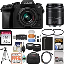 Panasonic Lumix DMC-G7 4K Wi-Fi Digital Camera & 14-42mm (Black) with 45-150mm Lens + 32GB Card + Case + Battery + Tripod + Tele/Wide Lens Kit