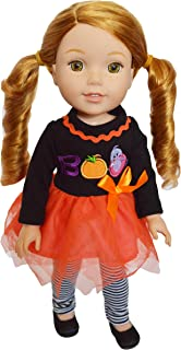 Brittany's Spooky Boo Outfit Compatible with Wellie Wisher Dolls, Hearts for Hearts Dolls and Glitter Girl Dolls- 14 Inch Doll Clothes