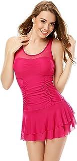 0bbd6bd95f20e One Piece Ruched Push Up Slim Tummy Control Tankini Swim Dress
