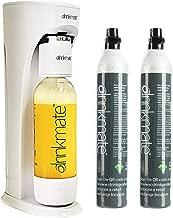 Drinkmate 410-01-14Zx2 Sparkling Water Maker Beverage, Bundle Includes Two 60L CO2 Cylinders, 1 Liter BPA-Free Carbonation Bottle, Fizz Infuser,White
