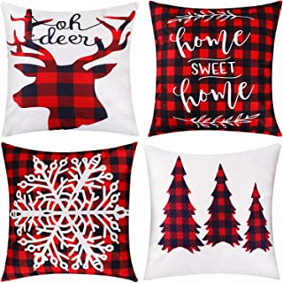 Jetec 4 Pieces Pillow Case Throw Cushion Cover Cotton Linen Pillow Decorations for Christmas Winter Halloween Thanksgiving Autumn, 18 by 18 inch