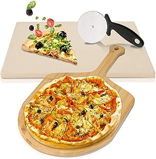 wolketon Pierre à Pizza avec Pelle à Pizza en Bambou et Couteau à Pizza Coupe-Roue, pour Pizza BBQ et Pâtisseries, en Cord...