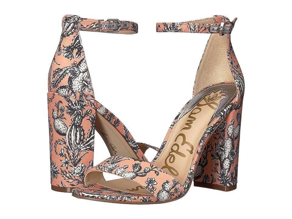 Sam Edelman Yaro Ankle Strap Sandal Heel (Orange Multi Cactus Garden Print) Women