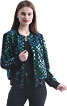 Women's Stretchy Sparkle Sequin Bomber Jacket with Zipper Placket for Spring Fall 4-12
