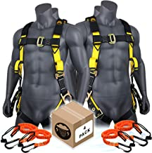 KwikSafety (Charlotte, NC) SUPERCELL (4 PACK) ANSI OSHA Full Body Personal Fall Protection Safety Harness Dorsal Ring Side D-Rings Grommet Tongue Buckle Straps Tool Lanyard Construction Tower Roofing
