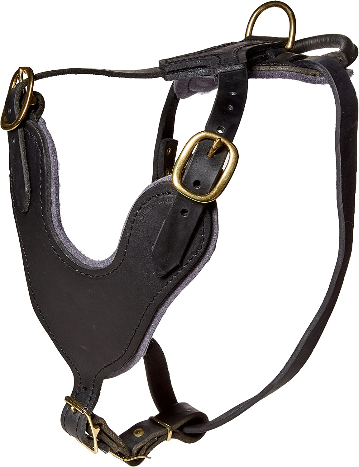 Dean and Tyler Leather Basic Brass Hardware Dog Harness with Handle, Black, Medium  Fits Girth Size  28Inch to 37Inch