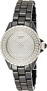 Akribos XXIV Women's Swiss Quartz Crystal Coin Edge Ceramic Bracelet Watch