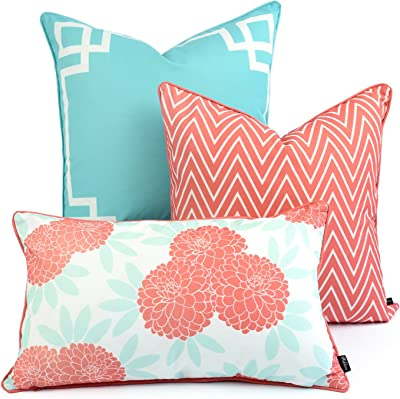 Amazon Com Hofdeco Spring Indoor Outdoor Pillow Cover Only Water Resistant For Patio Lounge Sofa Aqua Coral Pink Greek Key Chevron Floral 18 X18 20 X20 12 X20 Set Of 3 Garden Outdoor