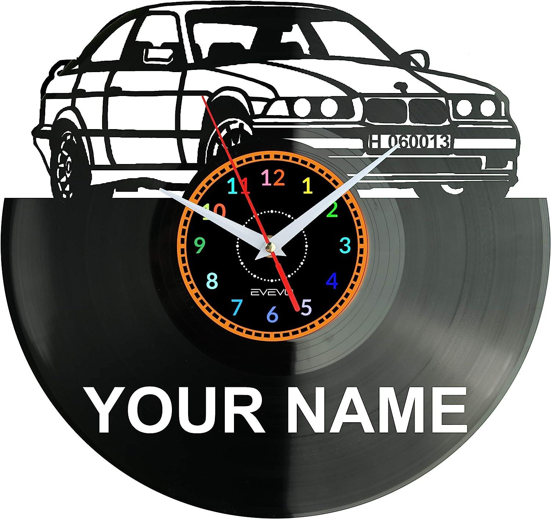 EVEVO Reloj de pared de vinilo retro con diseño de coche antiguo alemán, hecho a mano, regalo vintage, decoración para el hogar, gran regalo, reloj antiguo de coche alemán