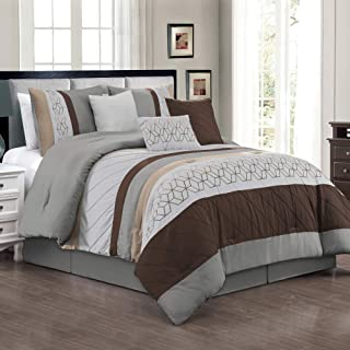 JML Comforter Set, 7 Piece Microfiber Bedding Comforter sets with Shams and Decorative Pillows - Luxury Quilted Patchwork Pattern, Perfect for Bed Room, Guest Room (#15-Coffee & Grey, California King)