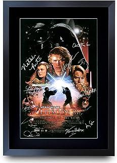 HWC Trading A3 FR Star Wars Episodio III Revenge of the Sith The Cast Hayden Christensen Ewan McGregor Gifts - Póster impreso con autógrafo para fans de la película Memorabilia - A3 enmarcado