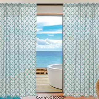 Shutters Decorative Sheer Curtains for Kitchen Window Drapes with Rod Pocket for Small Windows,2 Panels,Beach,Narrow Striped Conceptual Sea Waves Pattern Circular Rounded Rippled Swirled,Sky Blue Whi