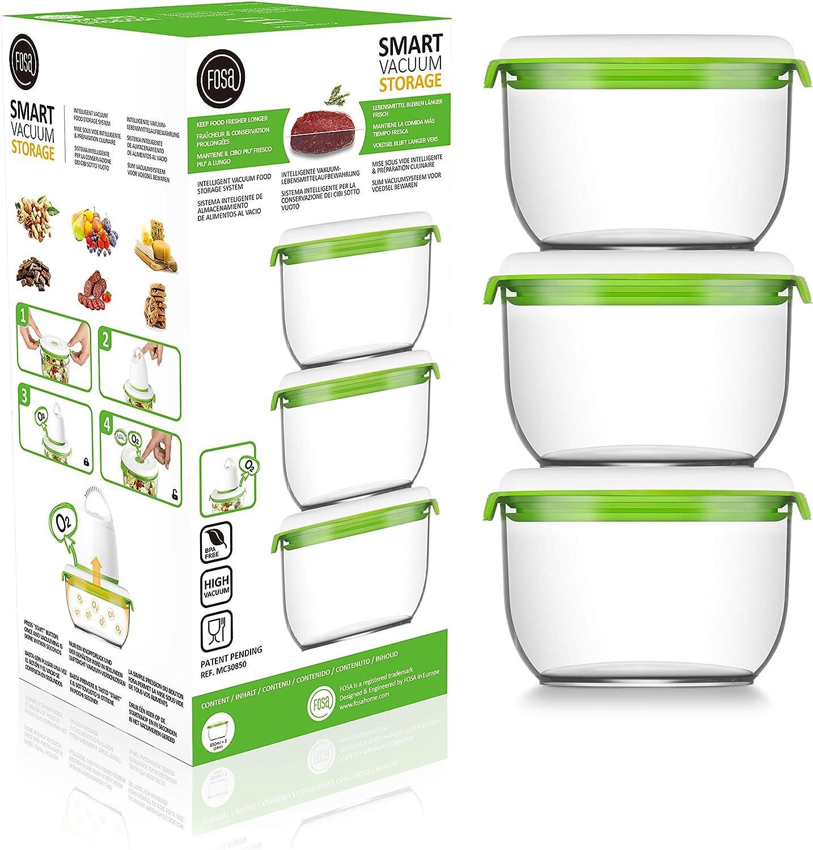 FOSA 3 Recipientes para Alimentos al Vacío, Recipientes Redondos para Conservar Comida al Vacío, NO Incluye Bomba de extración, Material Libre de BPA, 850 ml