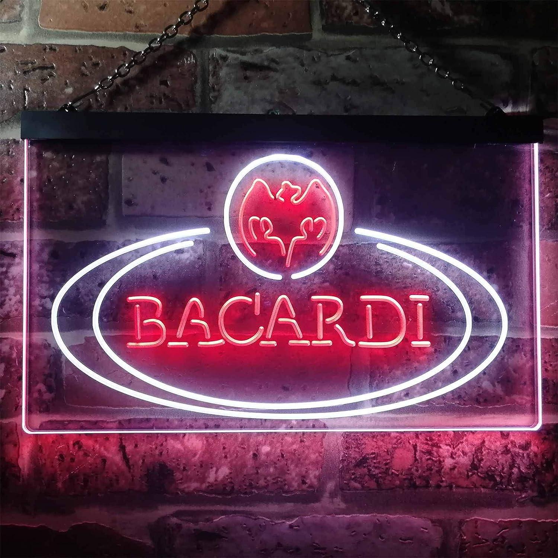 Zusme Bacardi Rum Bar Club Man Cave Novelty LED Neon Sign Weiß + rot W40cm x H30cm